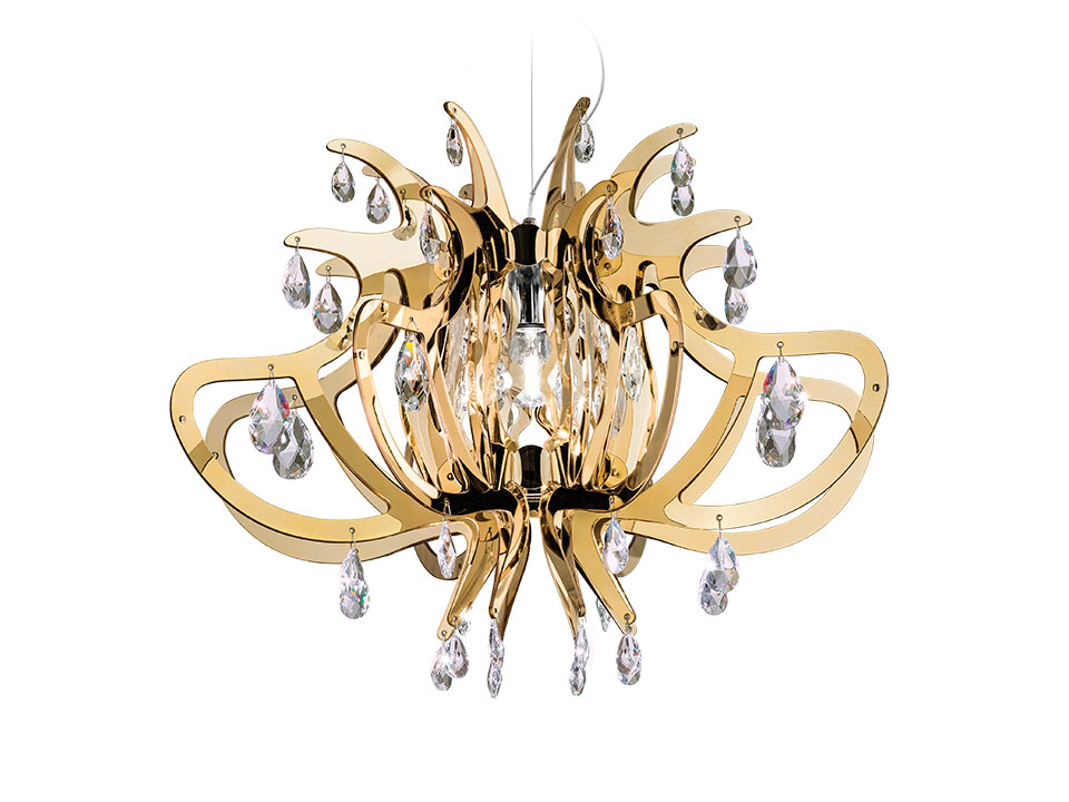 Lillibet Gold, Silver and Copper - Suspension Lamps - colour: gold